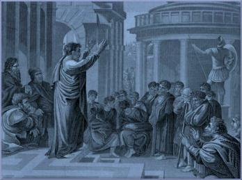 A picture depicting a man believed to be Paul, standing on the temple steps teaching the Word of the Lord