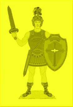 A picture depicting a man in armor with a cross on his shield - the Armor of the Lord