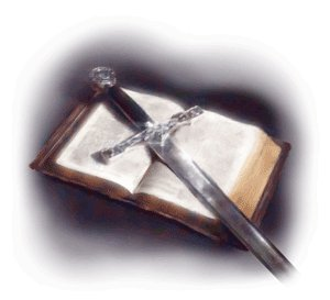 A picture depicting a sword on a Bible
